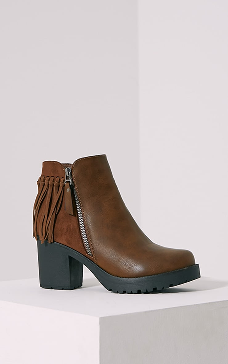 Juana Brown Chunky Tassel Ankle Boots 3