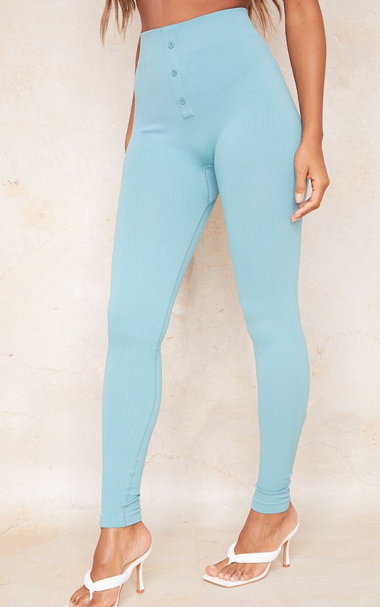 Washed Green Structured Contour Rib Button Front Leggings 2
