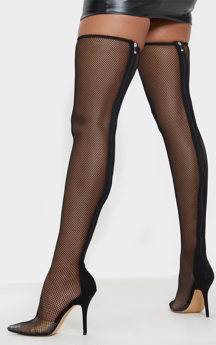 Black Thigh High Fishnet Boot 2