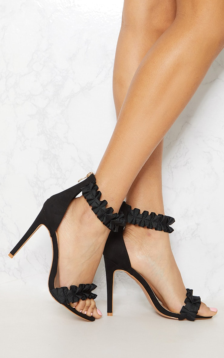 Black Ruffle Frill Strappy Heeled Sandal