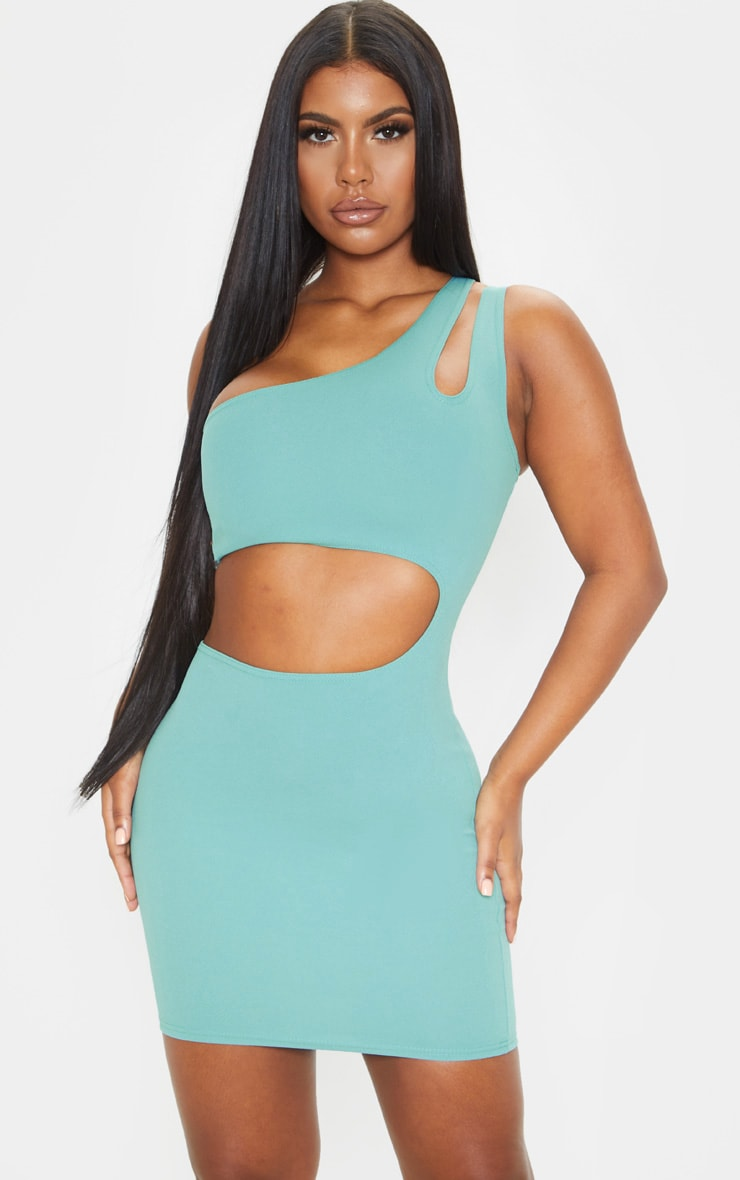 Dusty Turquoise One Shoulder Multi Cut Out Bodycon Dress 1