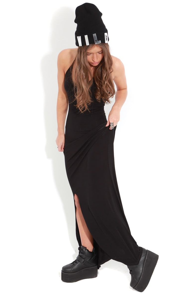 Raya Black Split Strappy Maxi Dress 4