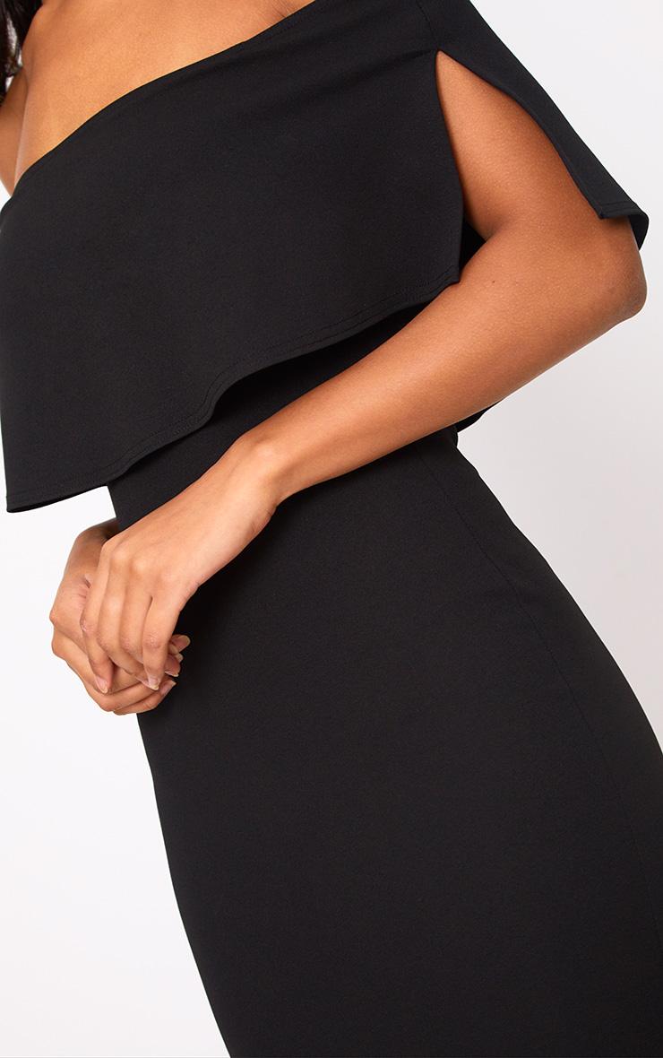 Black Bardot Frill Midi Dress 5
