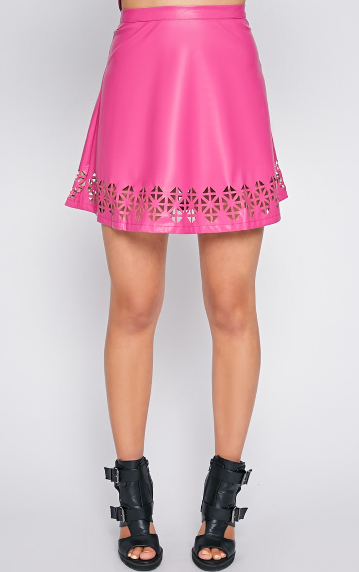 Amiya Pink Cut Out Leather Skater Skirt  5