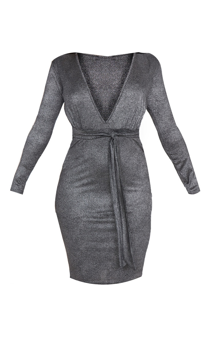 Black Metallic Glitter Plunge Belted Midi Dress 3