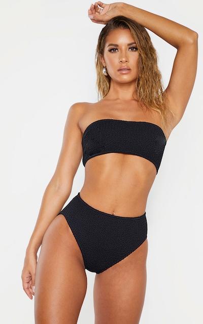 Black Crinkle Strapless Bandeau Bikini Top