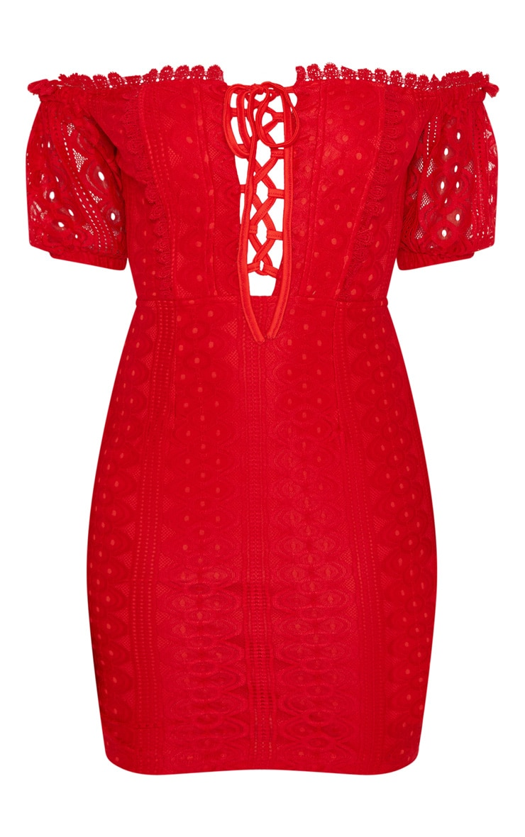 Red Lace Up Bardot Lace Bodycon Dress 3