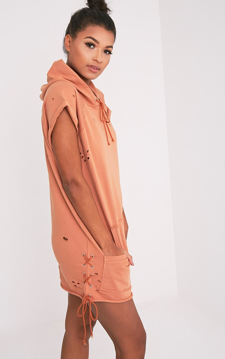 Tilly Deep Peach Distressed Lace Up Detail Sweater Dress 4