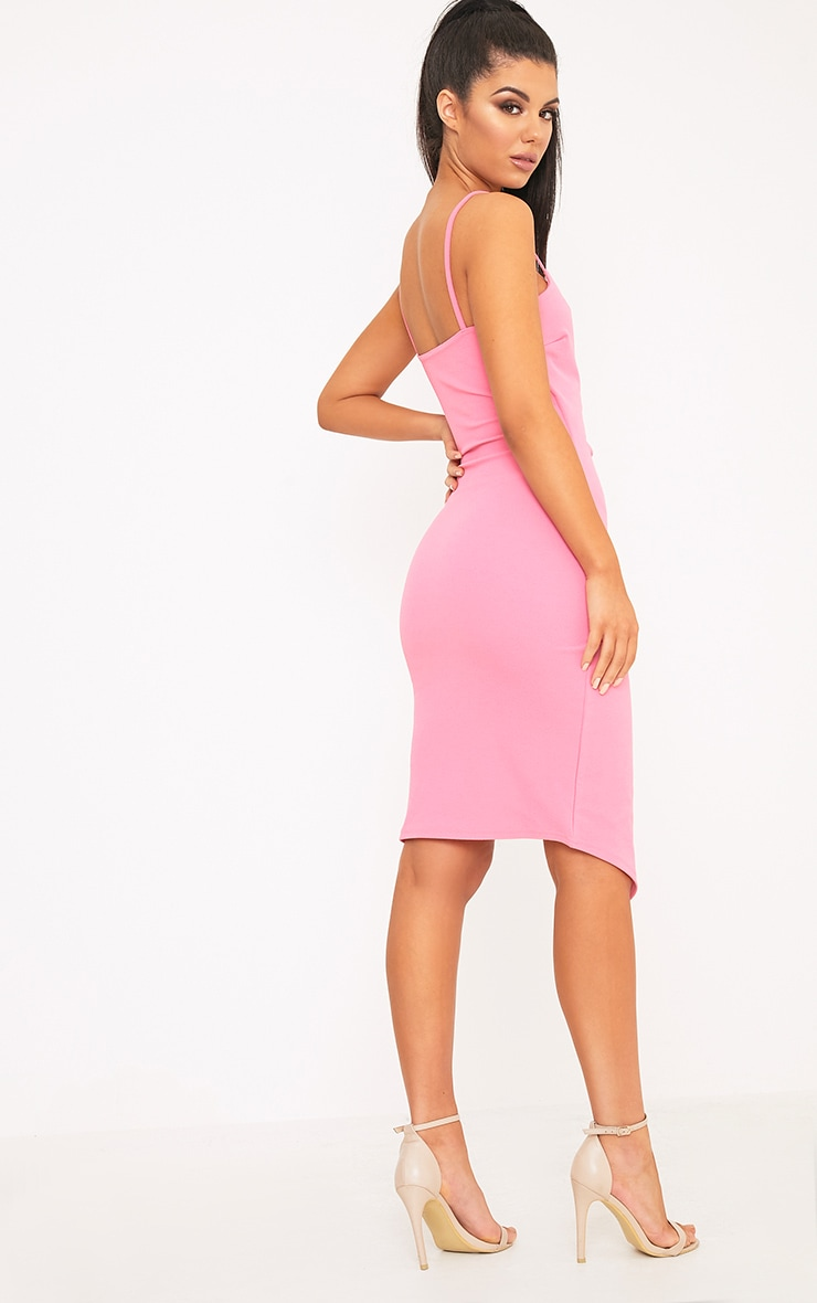 Lauriell Hot Pink Wrap Front Crepe Midi Dress 2