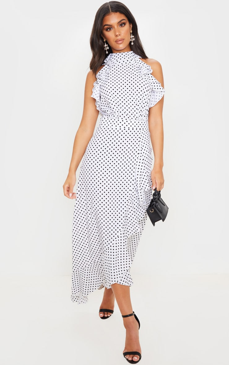 White Polka Dot Frill Detail Wrap Maxi Dress 1