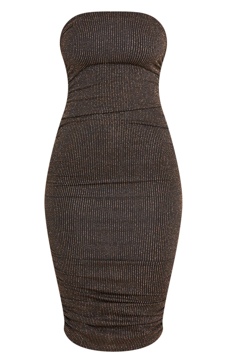 Gold Glitter Stripe Ruched Bandeau Bodycon Dress 3