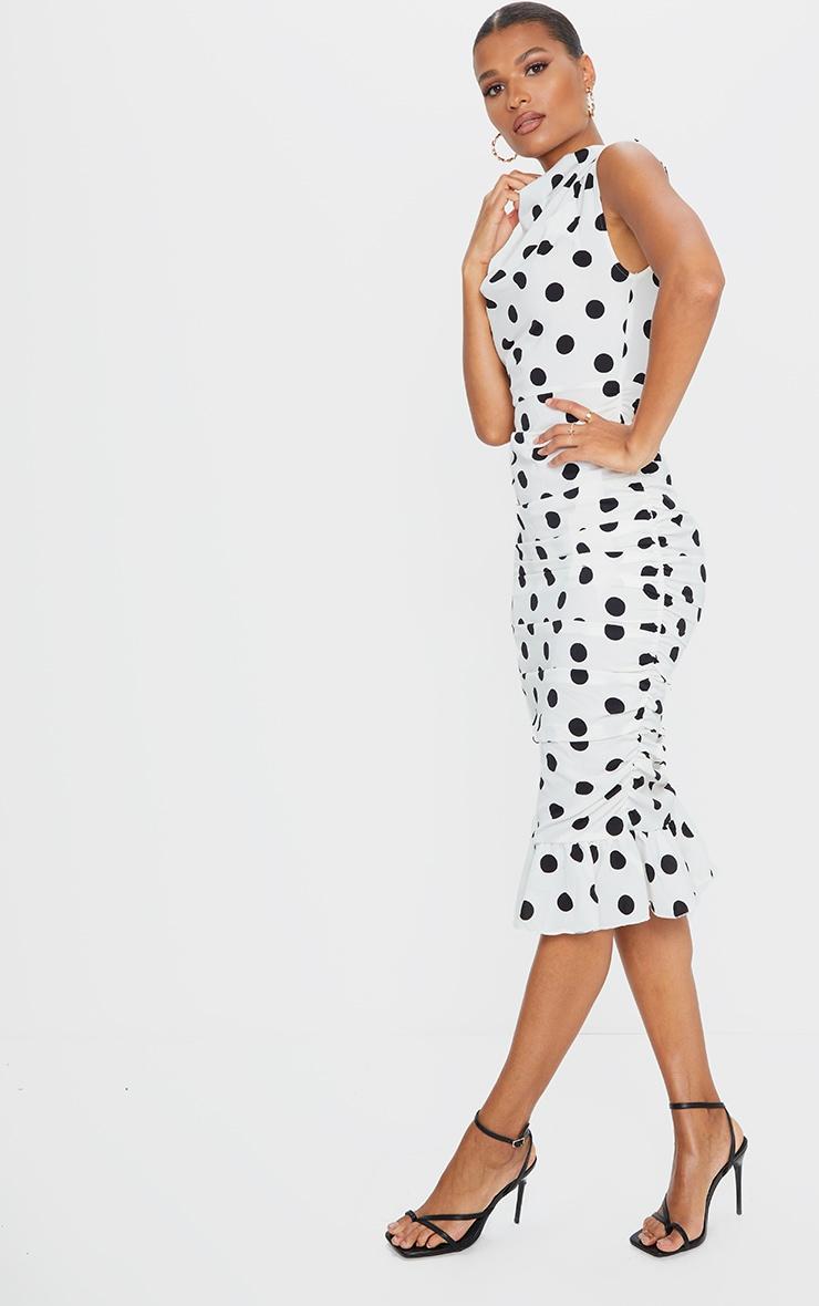 White Polka Dot Sleeveless Ruched Fishtail Midi Dress 3