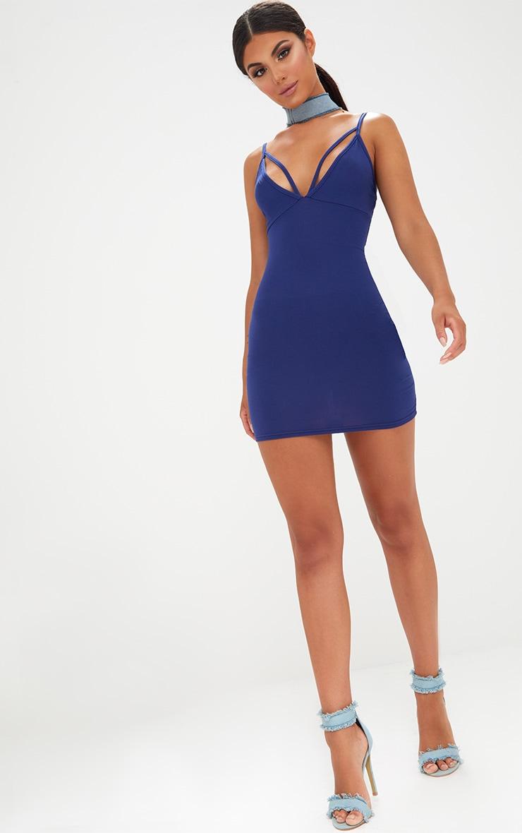 Navy Strap Detail Bodycon Dress 4