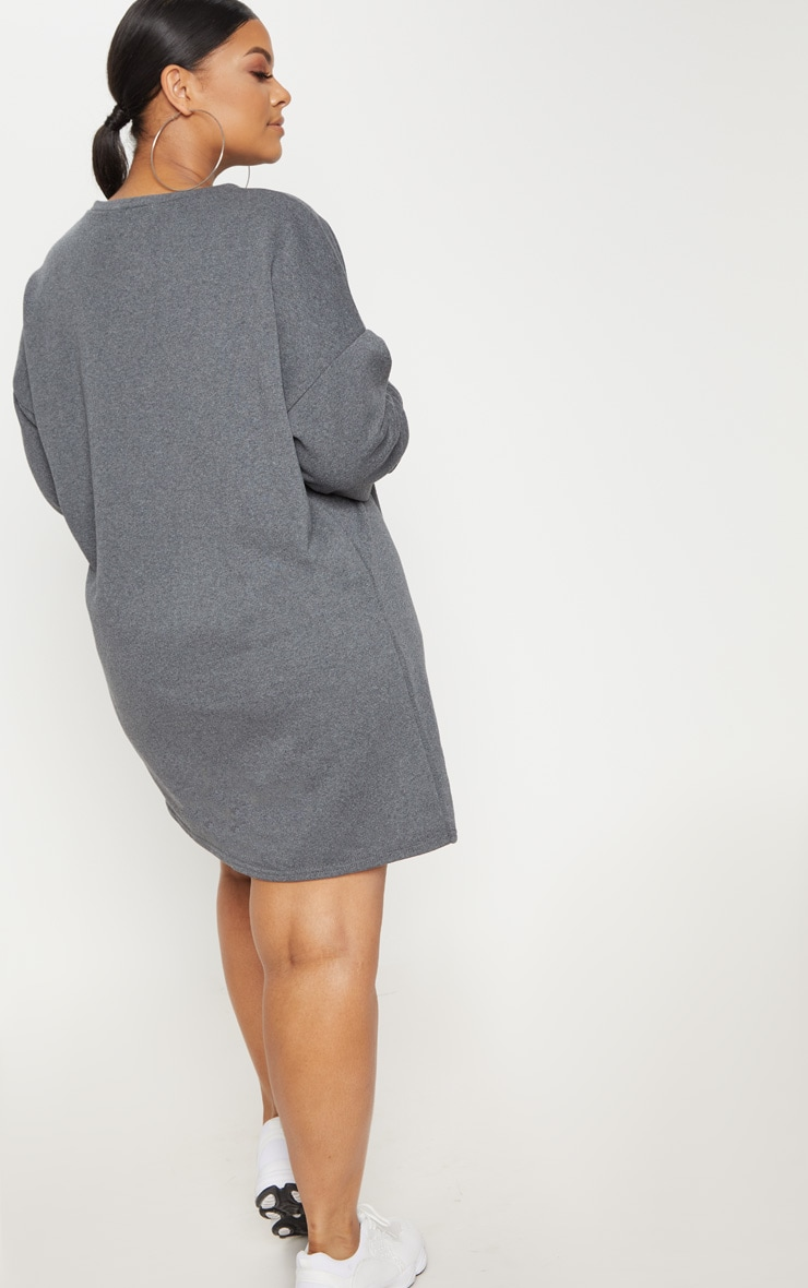 Plus Charcoal Oversized Sweater Dress 2