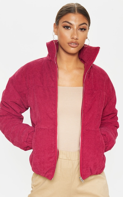 Tall Burgundy Cord Puffer Jacket