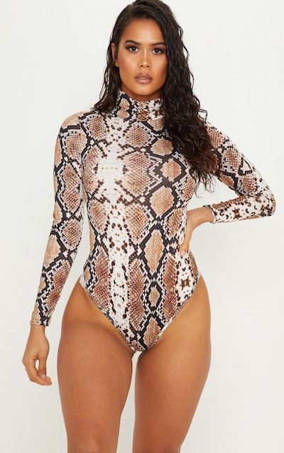 Tan Snake Print Roll Neck Long Sleeve Bodysuit 438743255