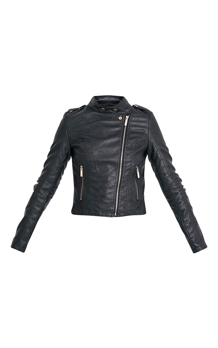 Merscha Black Faux Leather Biker Jacket 3