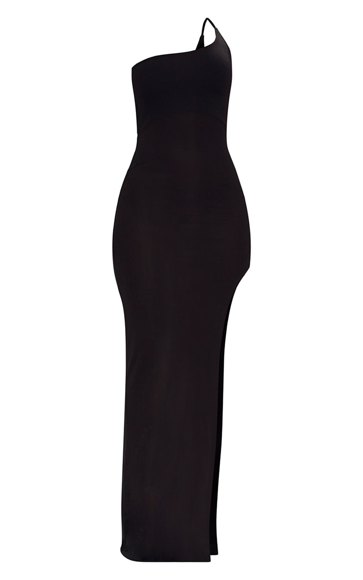 Black One Shoulder Asymmetric Maxi Dress 3