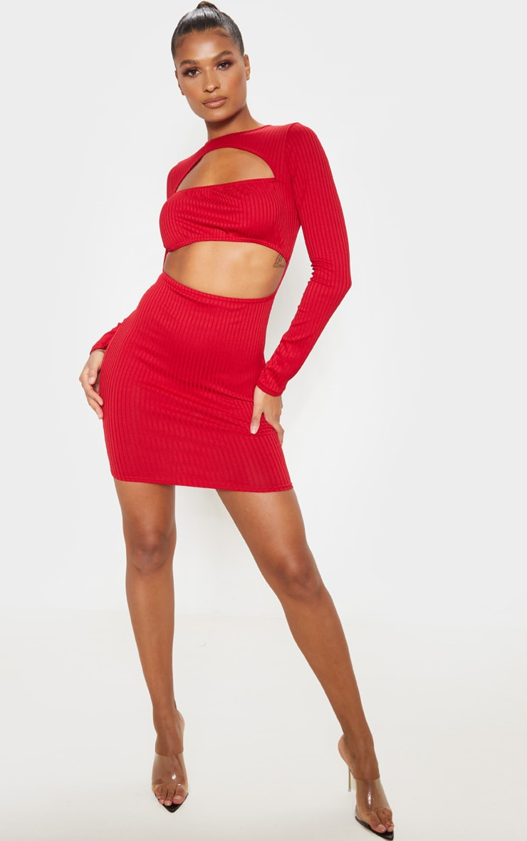 Scarlet Ribbed Long Sleeve Ruched Bust Bodycon Dress 4