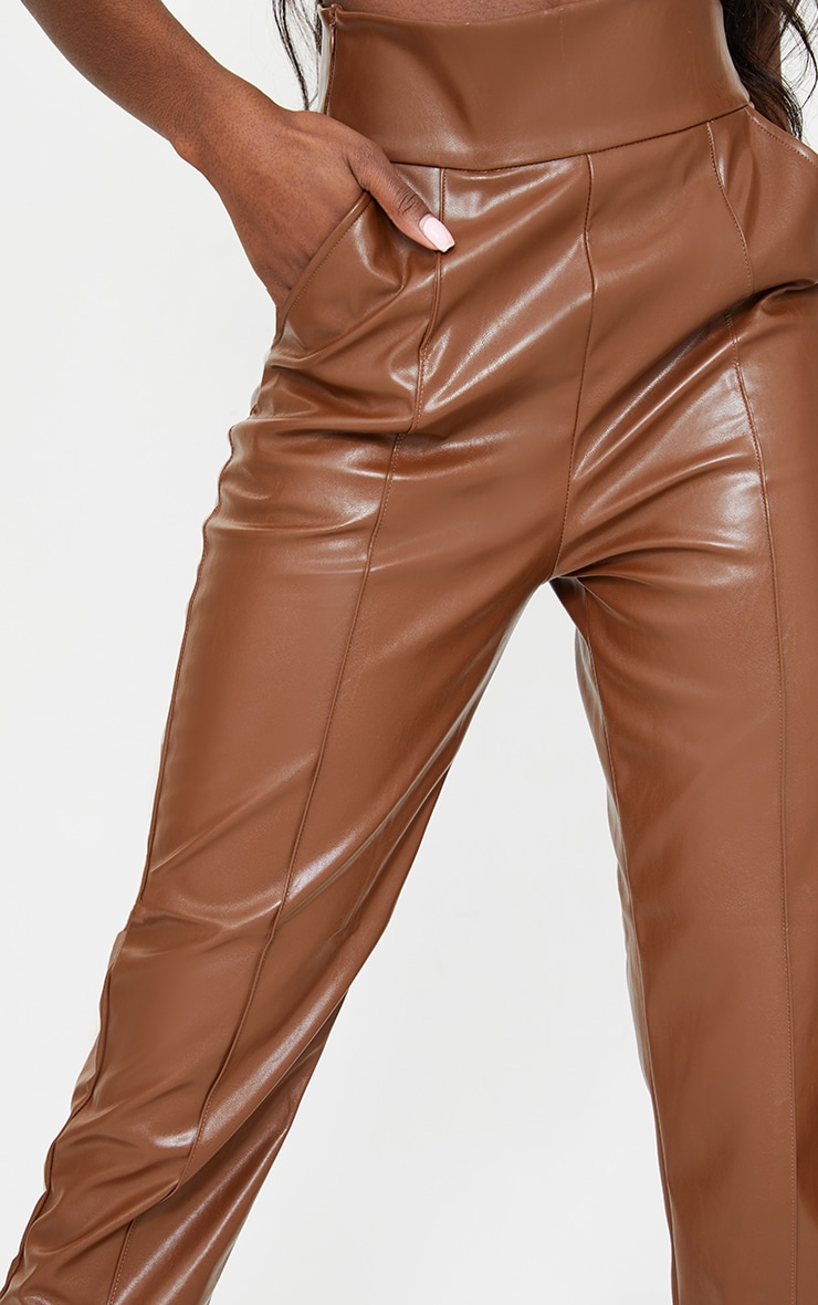 Tall Tan High Waisted Seam Detail PU Pants 4