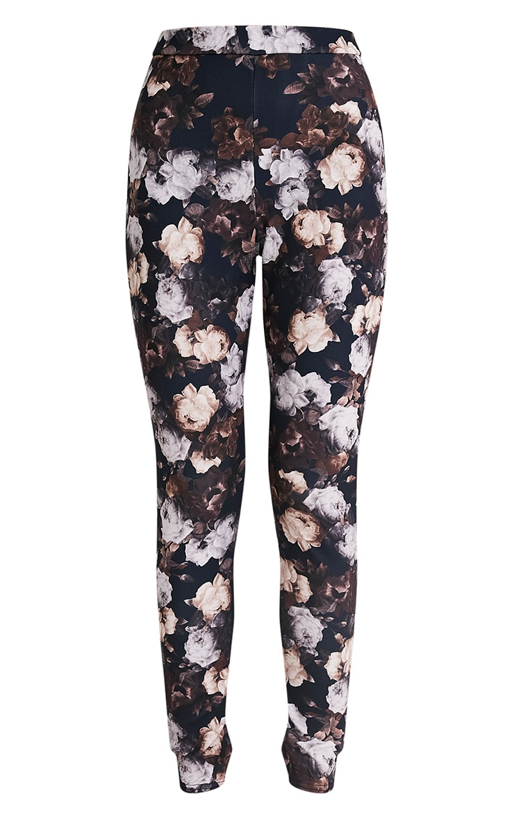 Calissa Black Floral Crepe Cigarette Trousers 3