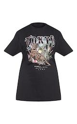 52aba9928 Plus Black Tokyo Oversized T Shirt | PrettyLittleThing USA