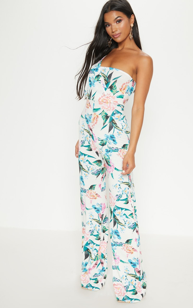 Cream Floral Jersey Drape One Shoulder Jumpsuit 4