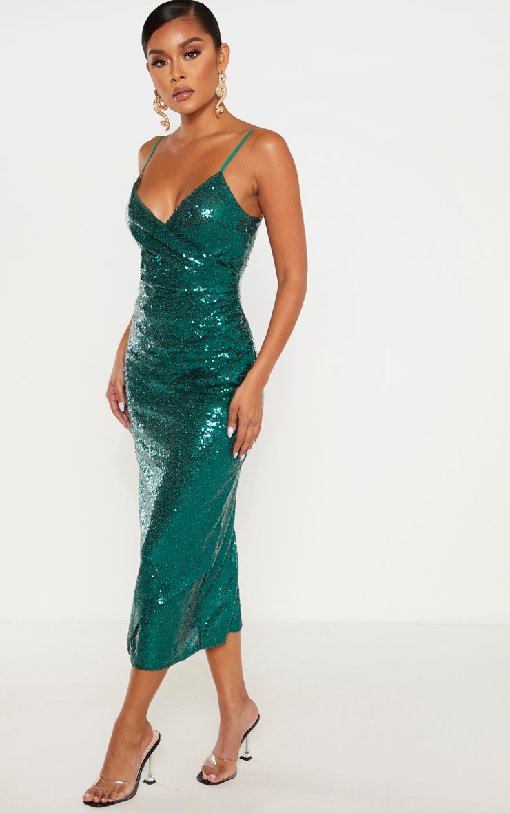 Emerald Green Sequin Wrap Over Midaxi Dress 4