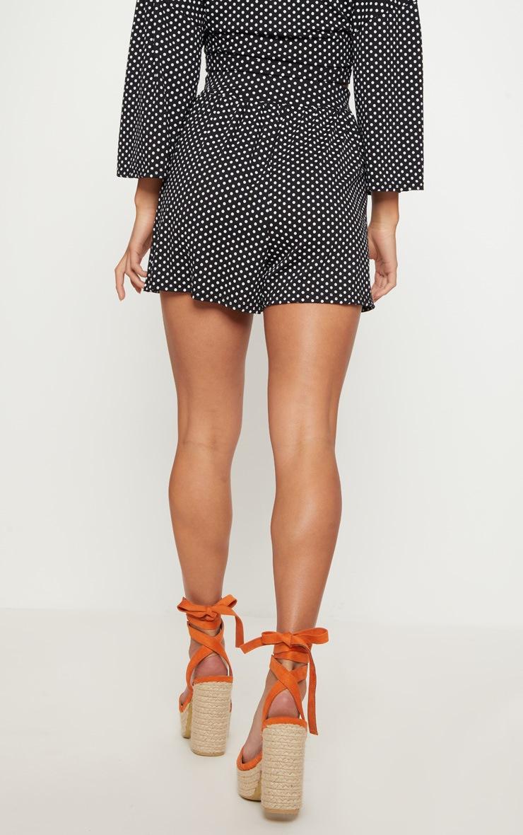 Petite Black Polka Dot Shorts 4