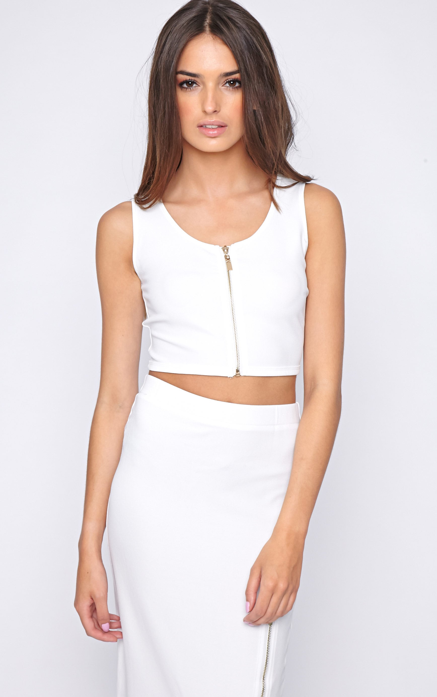Kadence White Zip Front Crop  1