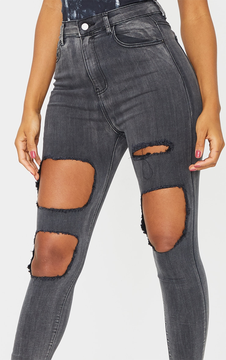 PRETTYLITTLETHING Washed Black Open Thigh Distressed 5 Pocket Skinny Jean 4