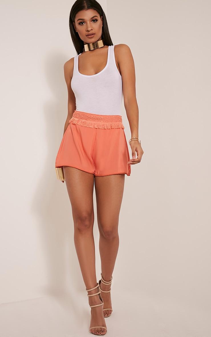 Marielle Coral Fringe Trim Waist Shorts 6