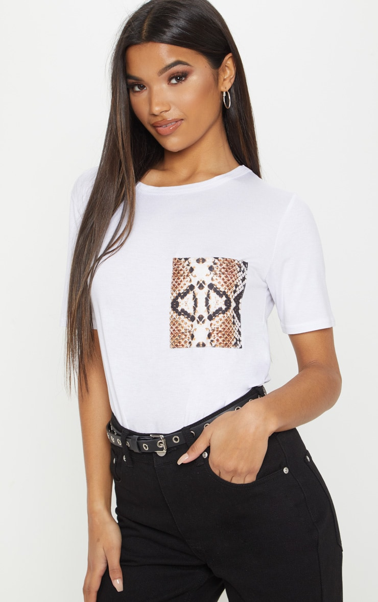 White Snake Print Pocket T shirt