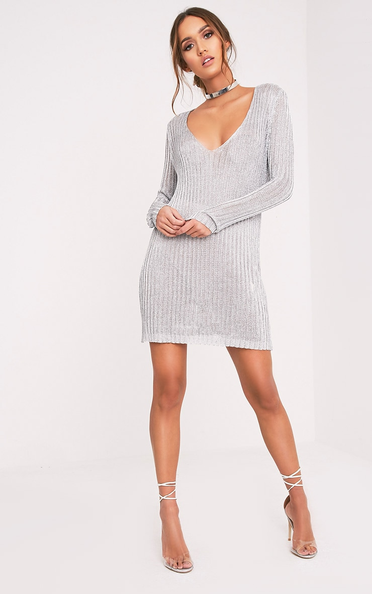 Abionae Metallic Silver Knit V Neck Jumper Dress 5