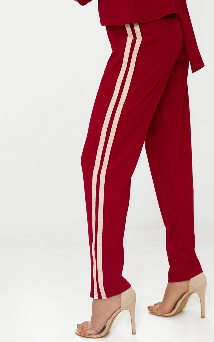 Burgundy Track Stripe Trousers 5