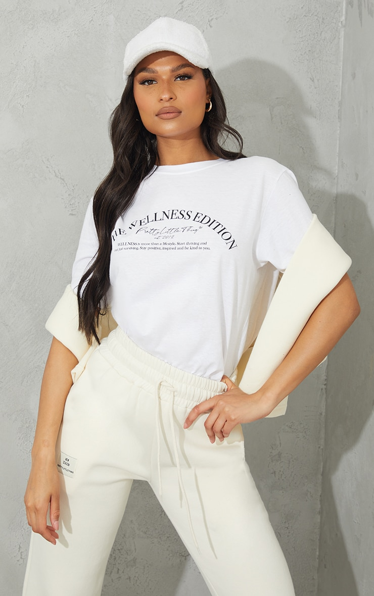 Prettylittlethingwhite Wellness Club Printed Oversize T Shirt