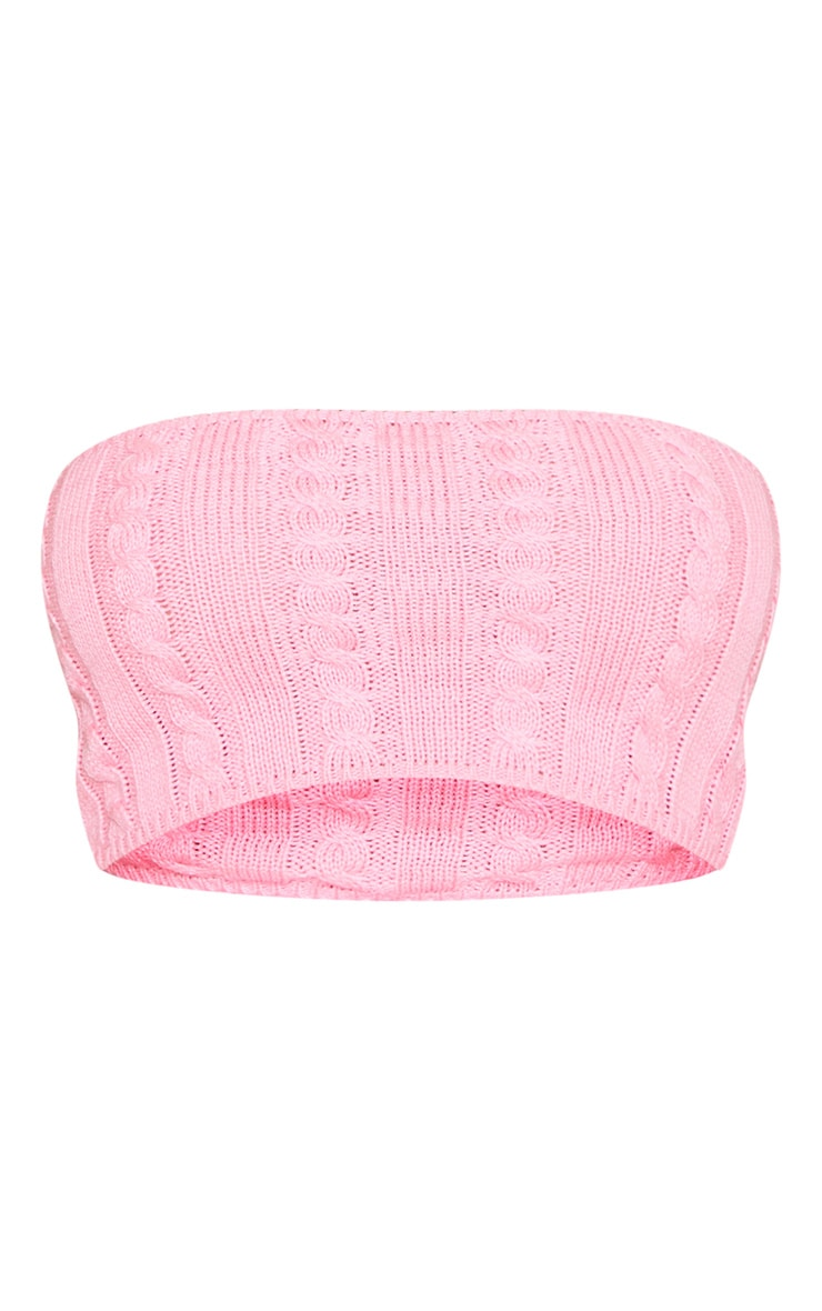 Pink Cable Knitted Bandeau 3