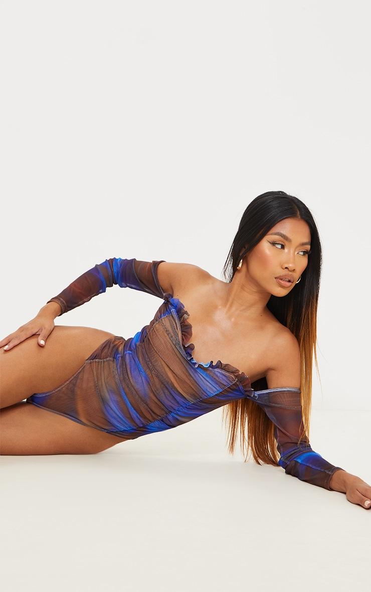 Blue Blur Printed Mesh Ruched Bardot Bodysuit 2