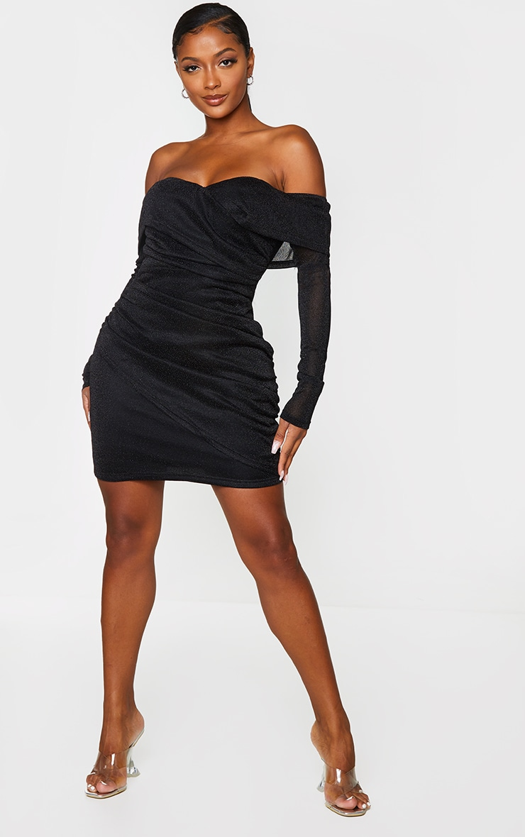 Shape Black Ruched Off The Shoulder Bodycon Dress 3