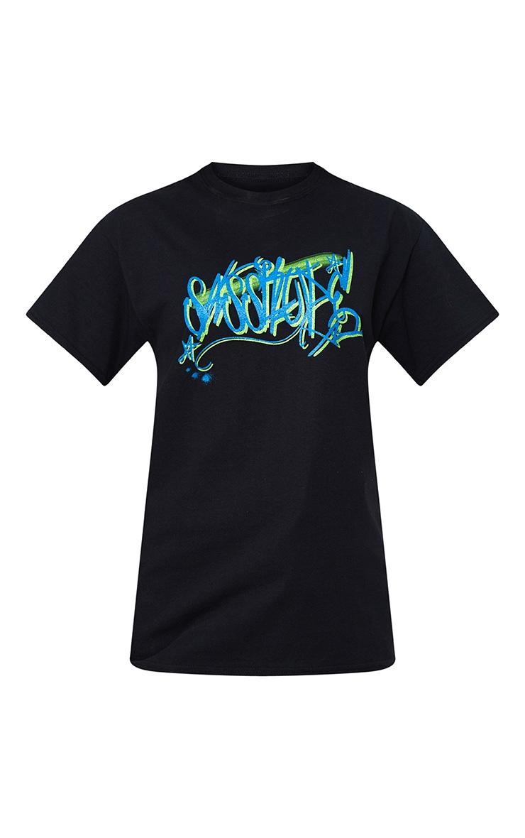 Black Sassitude Slogan Graffiti T Shirt  3