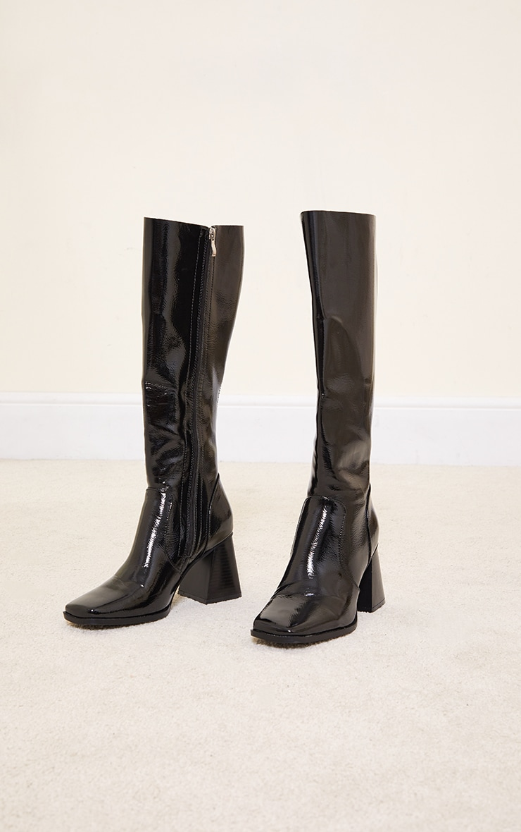 Black Mid Heel Flare Block Square Toe Knee Boots 3