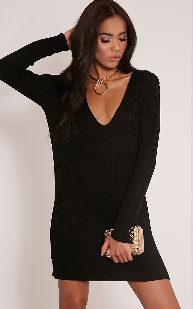 Navella Black Deep V Knitted Jumper Dress 1