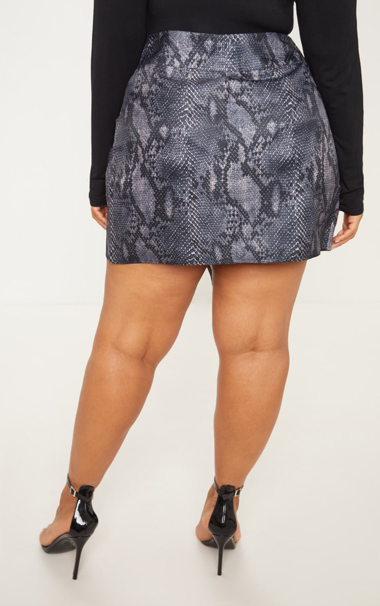 Plus Grey Snake Print Button Detail Wrap Mini Skirt 4
