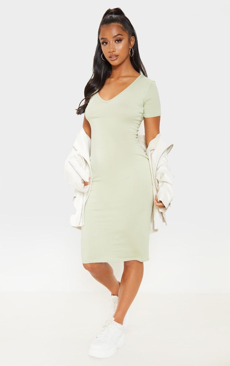 Petite - Robe moulante mi-longue vert sauge à col en V 4