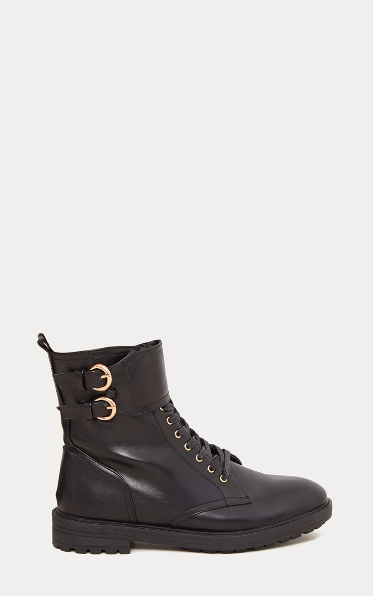 Black Ankle Buckle Hiker Boot 4