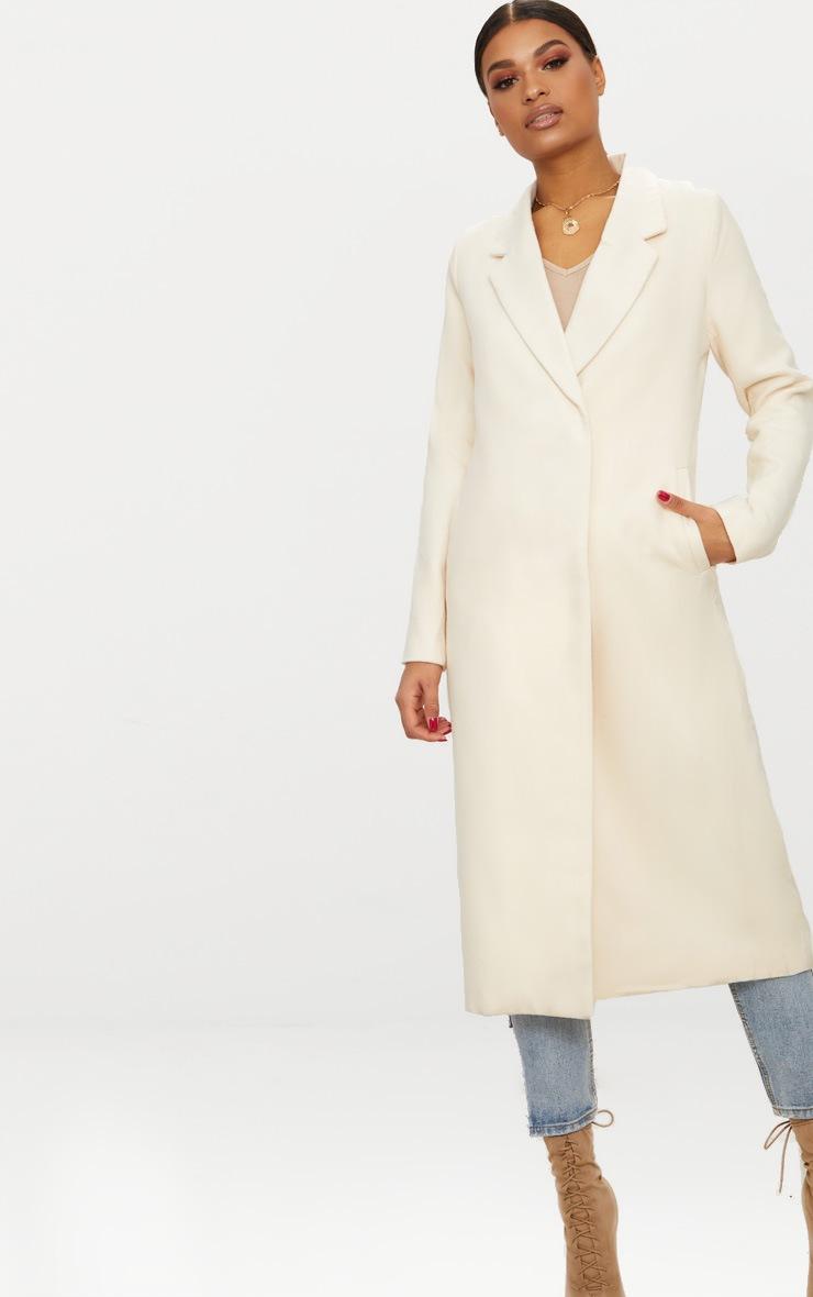 Cream Double Breasted Longline Coat 4