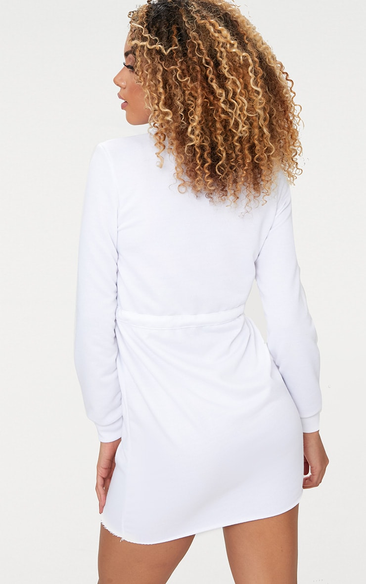 White Tie Waist Sweater Dress 2