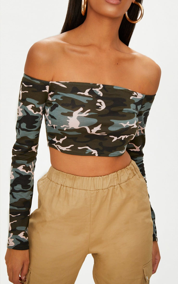 Khaki Camo  Bardot Crop Top 5