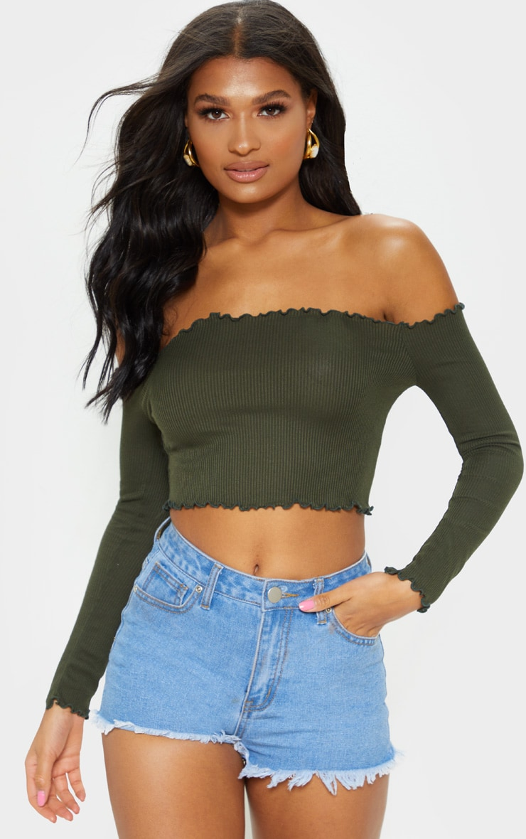 Khaki Frill Edge Crop Top 4