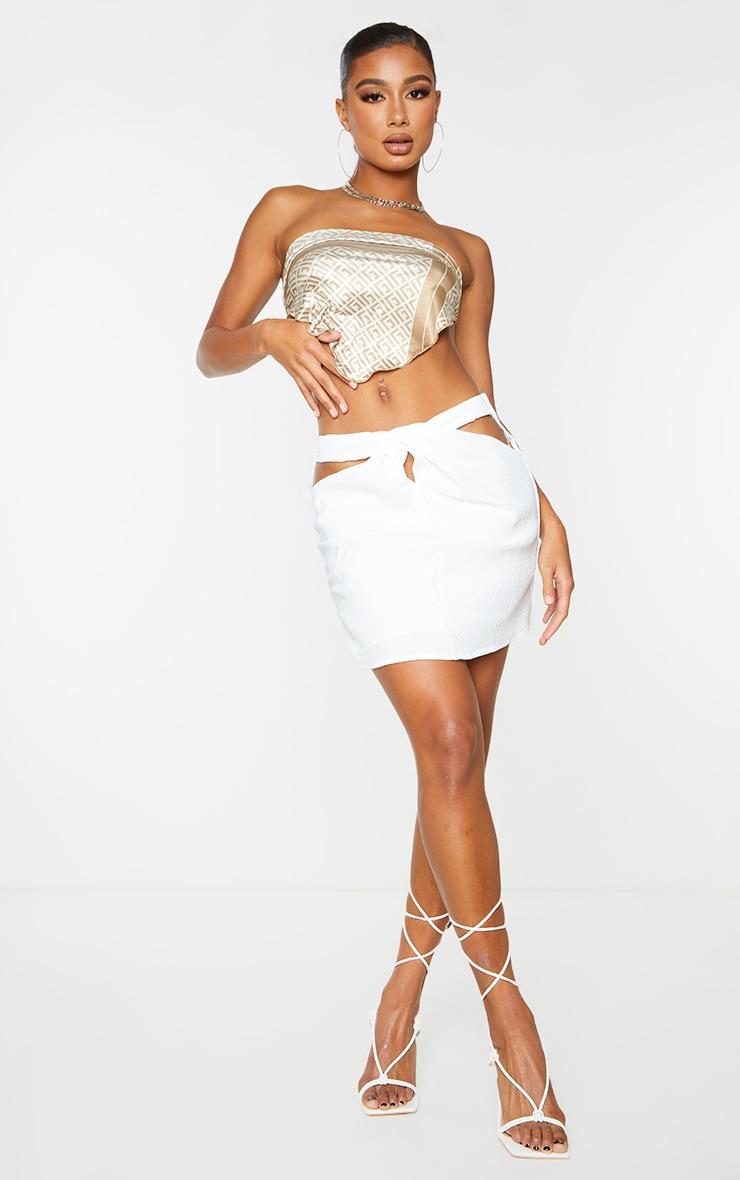 White Pleat Detail Cross Front Mini Skirt 1